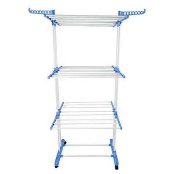 Three Layer Cloth Rack- Silver and Blue