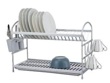 Aluminium 2 Tier Dish Rack - Silver Grey