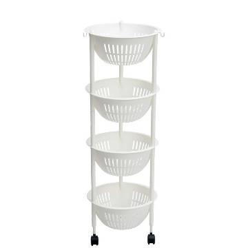 4 Layer Round Vegetable & Fruit Kitchen Rack Utility Storage Kitchen Shelves Onion Stand Rack