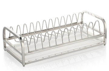 Single-Tier Dish Drainer with Drip Tray Desktop Bowl Rack Kitchen Storage 304 Stainless Steel Aluminum Acrylic Footpad Height Adjustable