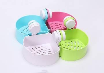 Corner Shelf Bathroom Kitchen Rack Self Adhesive Shower Caddy Plastic Triangle Wall Mount Storage Basket (Multicolor)