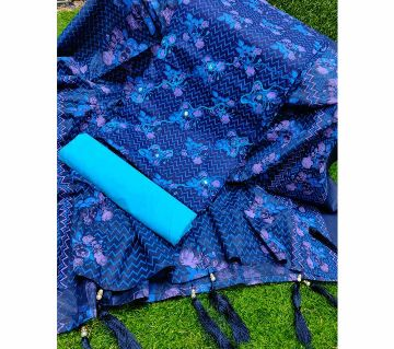 Tarsel Joypuri Unstitched Cotton three piece -Blue