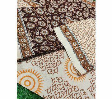 Indian Kolonkari Unstitched Cotton Salwar kameez -Coffee