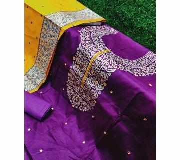 Unstitched Cotton Salwar kameez for Women -Violet