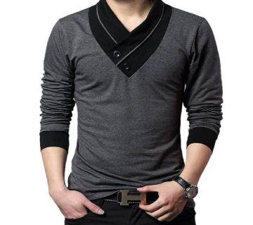 V-NECK BLACK COTTON LONG SLEEVE T-SHIRT FOR MEN