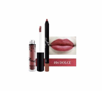 BUD K Lip Gloss +Lip Pencil 2PCS/SET Waterproof Long Lasting Liquid  18g China