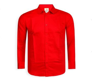 Full Sleeve Solid Color Shirt For Men  - Red - Cod 301