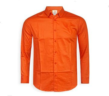 Full Sleeve Solid Color Shirt For Men  - Orange Red - Cod 302