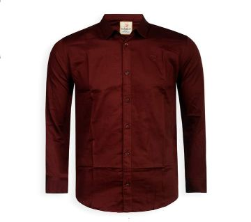 Full Sleeve Solid Color Shirt For Men  - Maroon - Cod 304