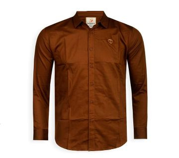 Full Sleeve Solid Color Shirt For Men - Saddle Brown - Cod 305