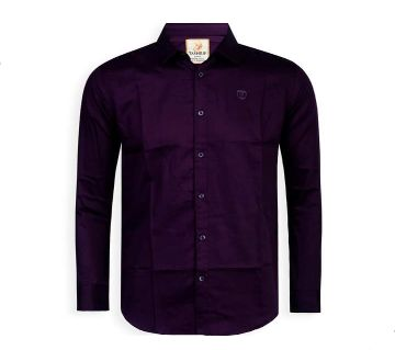 Full Sleeve Solid Color Shirt For Men - Purple - Cod 306