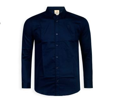 Full Sleeve Solid Color Shirt For Men - Navy Blue - Cod 309
