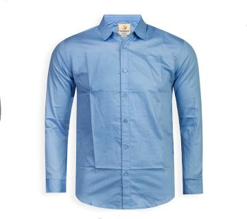 Full Sleeve Solid Color Shirt For Men - Light Sky Blue - Cod 311