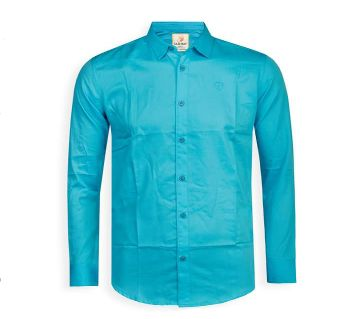 Full Sleeve Solid Color Shirt For Men - Cyan - Cod 312