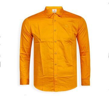 Full Sleeve Solid Color Shirt For Men  - Orange - Cod 313