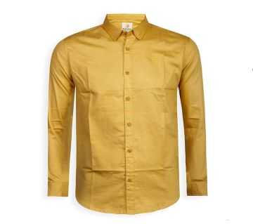 Full Sleeve Solid Color Shirt For Men - Gold - Cod 314