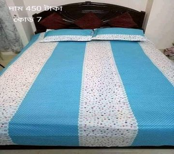 King Size Cotton Bedsheets White & Blue