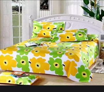 King Size Cotton Bedsheets Yellow Flower