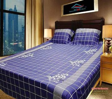 King Size Cotton Bedsheets Blue Square