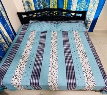 Double Size Bedsheet and pillow Cover(08 ft × 7.5 ft)-sky blue