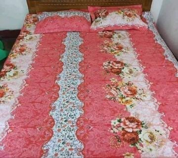 Double Size Bedsheet and pillow Cover(08 ft × 7.5 ft)-pink