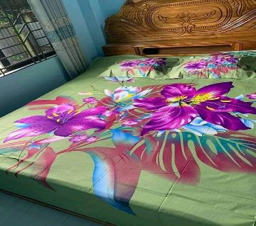 Double Size Bedsheet and pillow Cover(08 ft × 7.5 ft)-green
