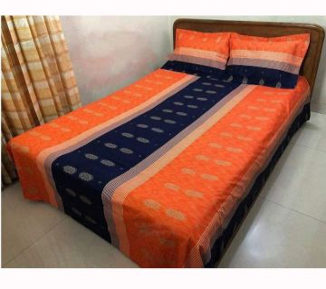 Double Size Bedsheet and pillow Cover(08 ft × 7.5 ft)-orange