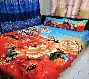 Double Size Bedsheet and pillow Cover(08 ft × 7.5 ft)orange