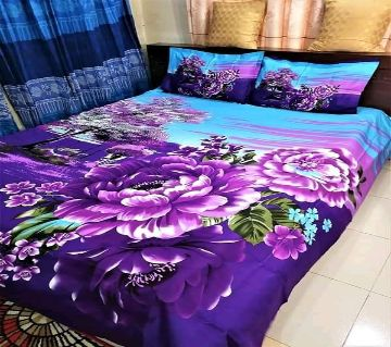 Double Size Bedsheet and pillow Cover(08 ft × 7.5 ft)-purple