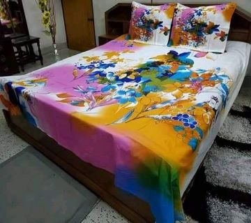 Double Size Bedsheet and pillow Cover(08 ft × 7.5 ft)-multicolor
