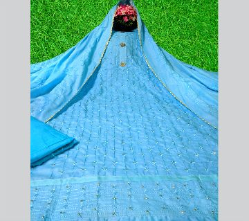Unstitched High Quality AC Cotton Three Piece-Sky Blue