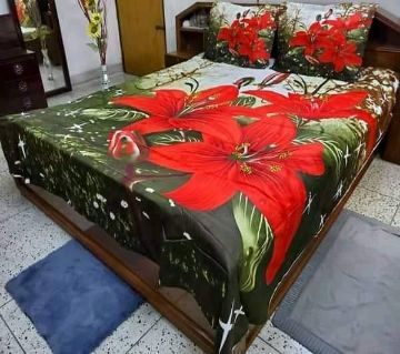 King Size Cotton bedsheet set -red and green