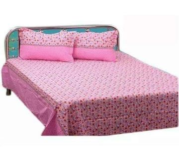 King Size Bedsheet 01 with 2 pillow cover - Pink