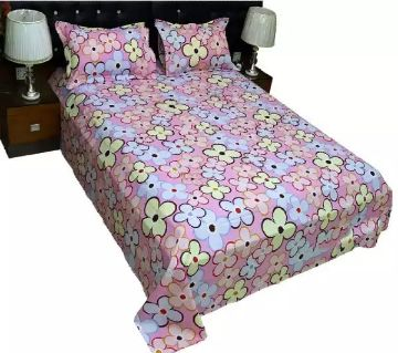 King Size Bedsheet 01 with 2 pillow cover - Multicolor