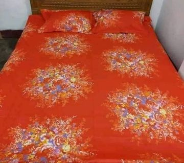 King Size Bedsheet 01 with 2 pillow cover - Orange