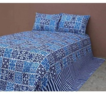 King Size Bedsheet 01 with 2 pillow cover - Blue