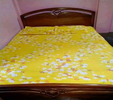 King Size Bedsheet 01 with 2 pillow cover - Yellow