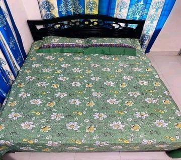 King Size Bedsheet 01 with 2 pillow  cover - Green