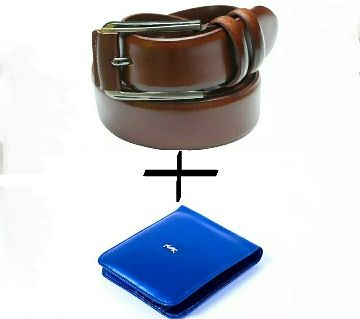 Chocolate Artificial leather belt for men+wallet combo offer