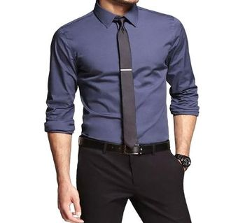 Sky Blue Cotton Formal Shirt For Men