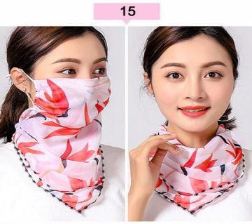 Chiffon Print Flowers Face Mask Scarf Protection