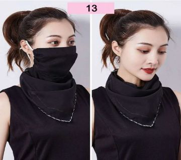 Chiffon Face Mask Scarf Protection - Black