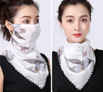Floral Print Chiffon Face Mask Scarf Protection