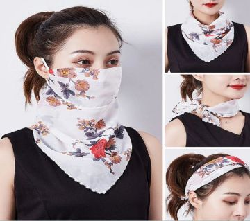 Chiffon Face Mask Scarf Protection - White