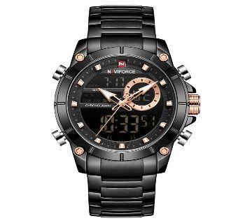 NAVIFORCE NF9163 Black Stainless Steel Dual Time Wrist Watch For Men - Black