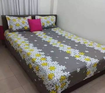 Double Size Cotton Bed Sheet With 2 Pillow Cover