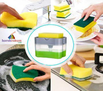 2-in-1 Dish Dispenser With Sponge, Dishwashing Soap Holder