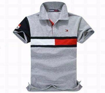 Grey Stylish Cotton Polo Shirt For Men 001
