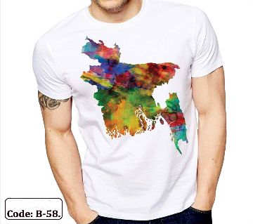 Half sleeve Taiwan CVC Fabric t-shirt for men ( Bangladesh Map)