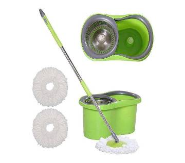 Stainless Steel Magic Spin Mop 360 Rotate (2 Mop Head)